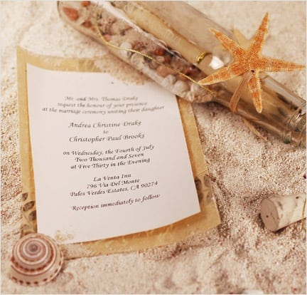 message in a bottle would work perfectly for a beach themed wedding