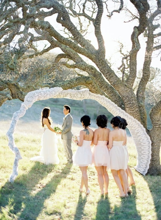4 ideas for affordable altars and arches my trio rings the sheath downward facing branches in lace chiffon ribbon or other fabric in your wedding colors use this arch to frame you as youre saying your vows and solutioingenieria Images