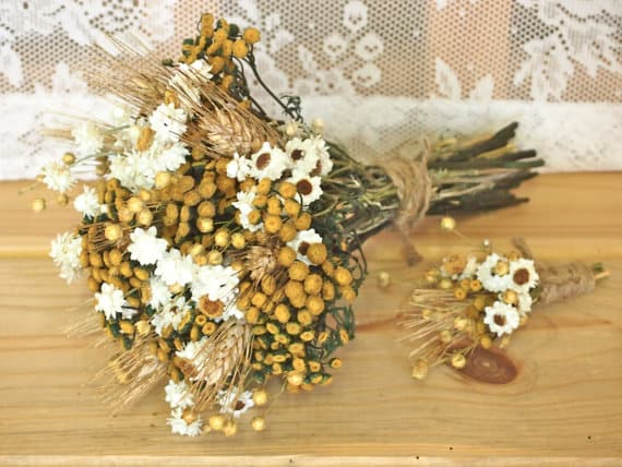 how about dried flowers for your wedding bouquet the matching button