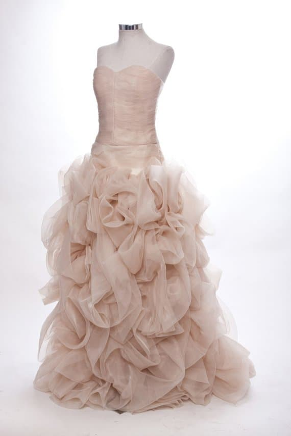 Bespoke brides top 10 coloured wedding dresses on etsy for Wedding dresses with roses on them
