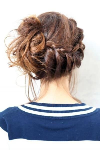 Swept plait bunched to the side