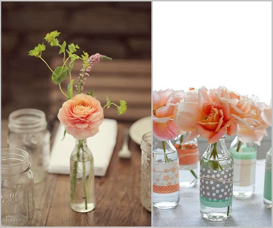 15 unique alternative ways to display your wedding for Flowers in glass bottles