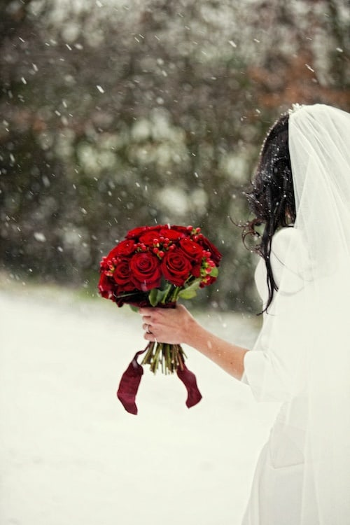 A Christmas Bride.Wednesday Wedding Inspiration Red Warm Christmas
