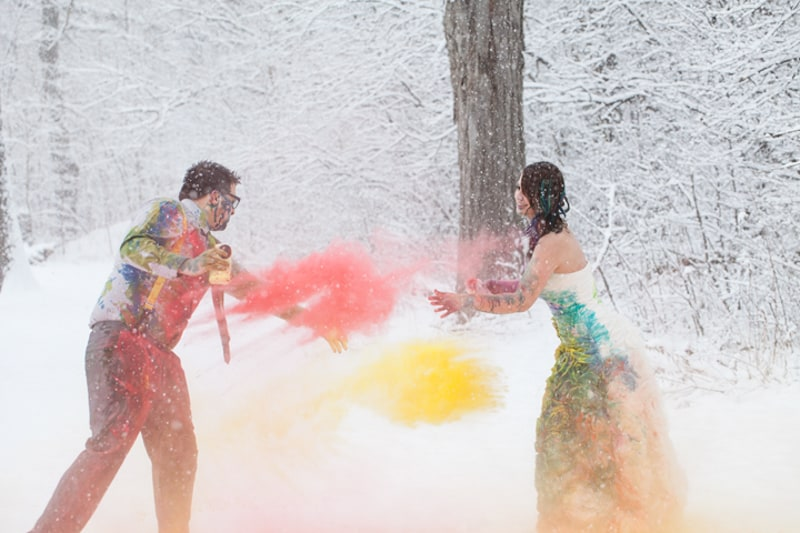 A Vibrant Trash The Dress Shoot In The Snow Bespoke