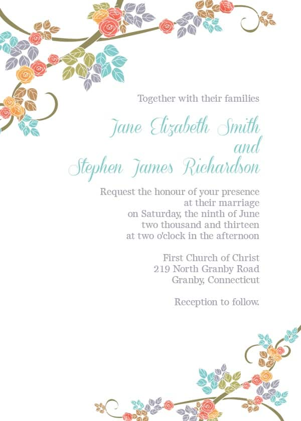 pretty florals - Free Templates For Wedding Invitations