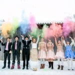 Alice in Winterland – A Colourful Trash the Dress Including a Fluffy White Bunny Rabbit