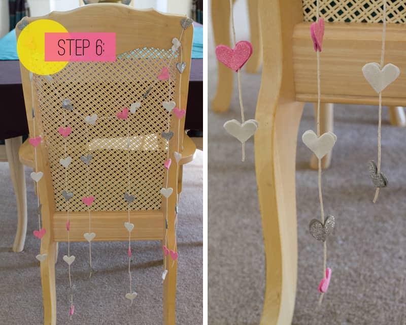 DIY Glitter Heart Chair Garland 6