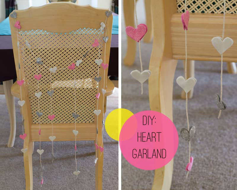 DIY Glitter Heart Chair Garland