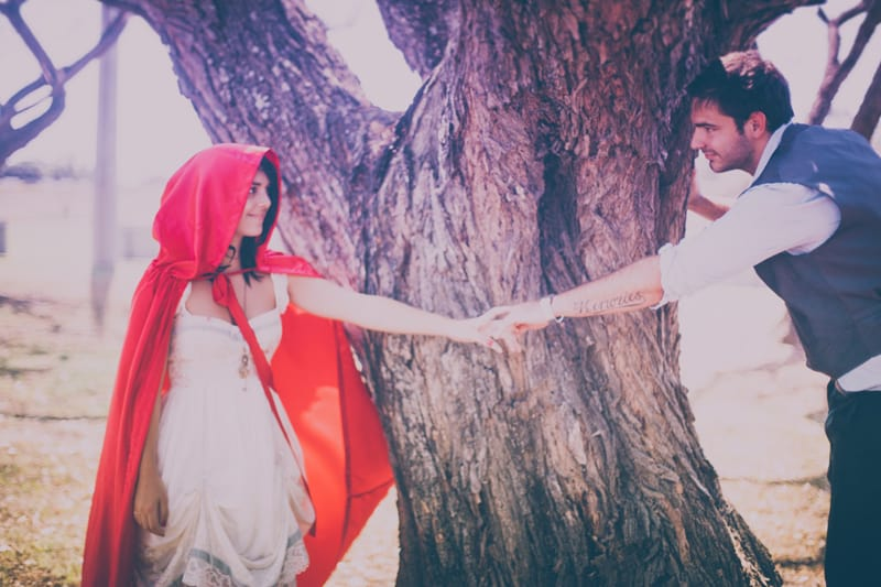 Little red riding hood engagement shoot