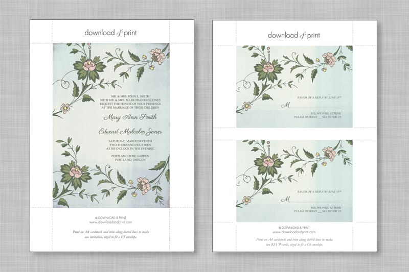 Wedding DIY Free Printable Invitations RSVP – Free Wedding Rsvp Card Templates
