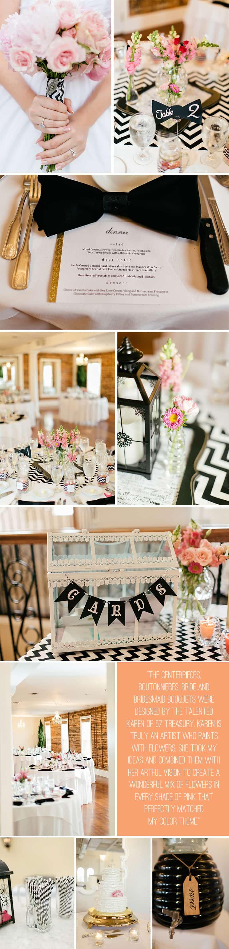 Black White Chevron Pink Wedding Florida Rooftop Wedding5