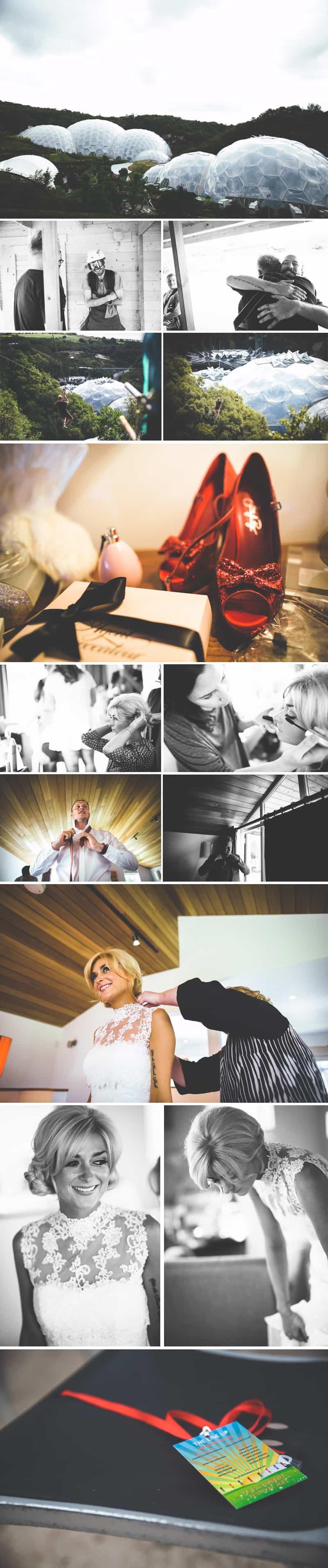 Glastonbury Eden Project Wedding Zip Lining Festival Themed