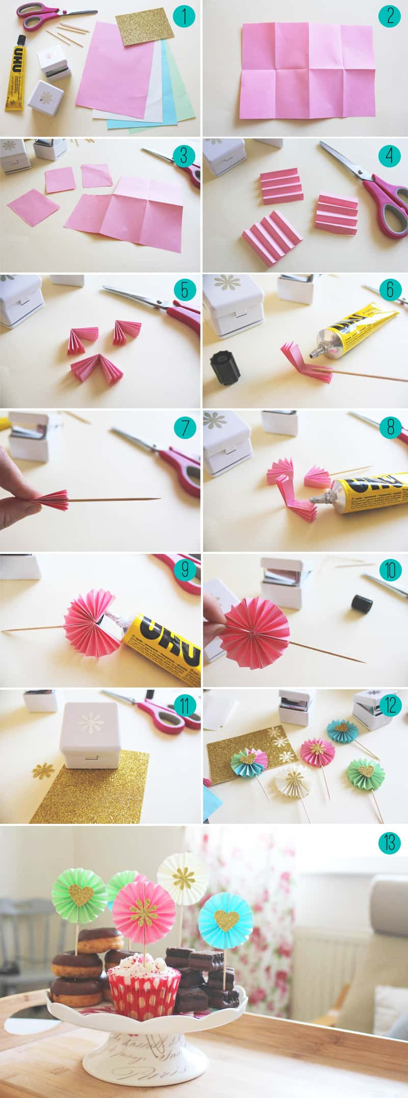 Cupcake Decorating Ideas Step By Step : DIY Paper Fan Decorations Cupcake Toppers Bespoke-Bride ...