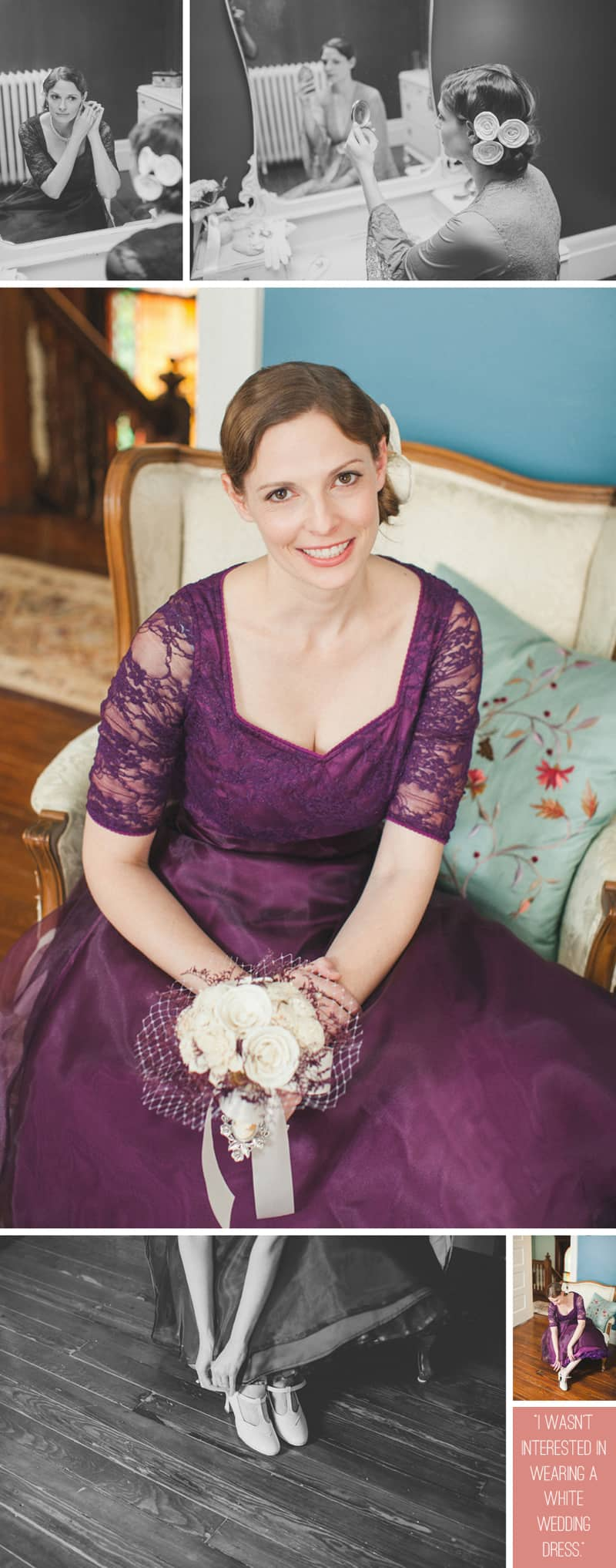 A Purple Wedding Dress For a Backyard Wedding 4