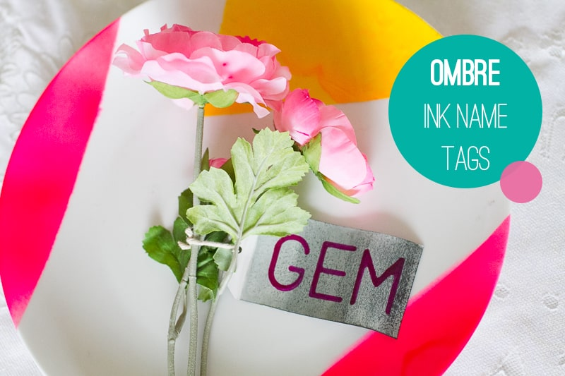 Ombre Ink Name Tags Wedding DIY Placement Escort Cards