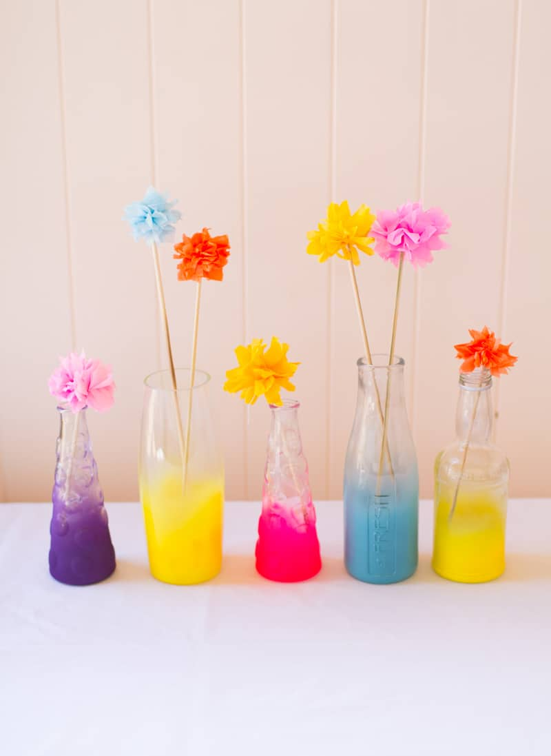 Neon Ombre spray painted bottles DIY Tutorial