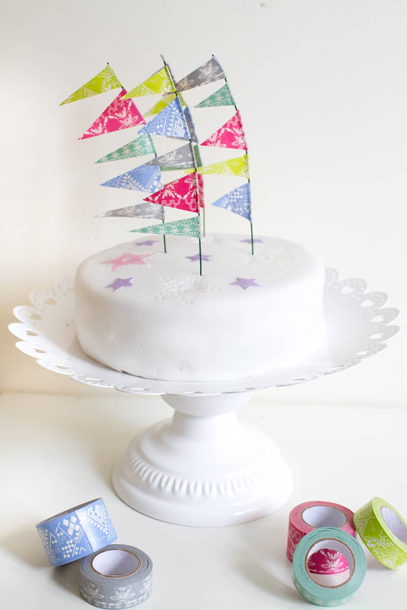 Festival Flag Cake Toppers DIY Washi Tape Main