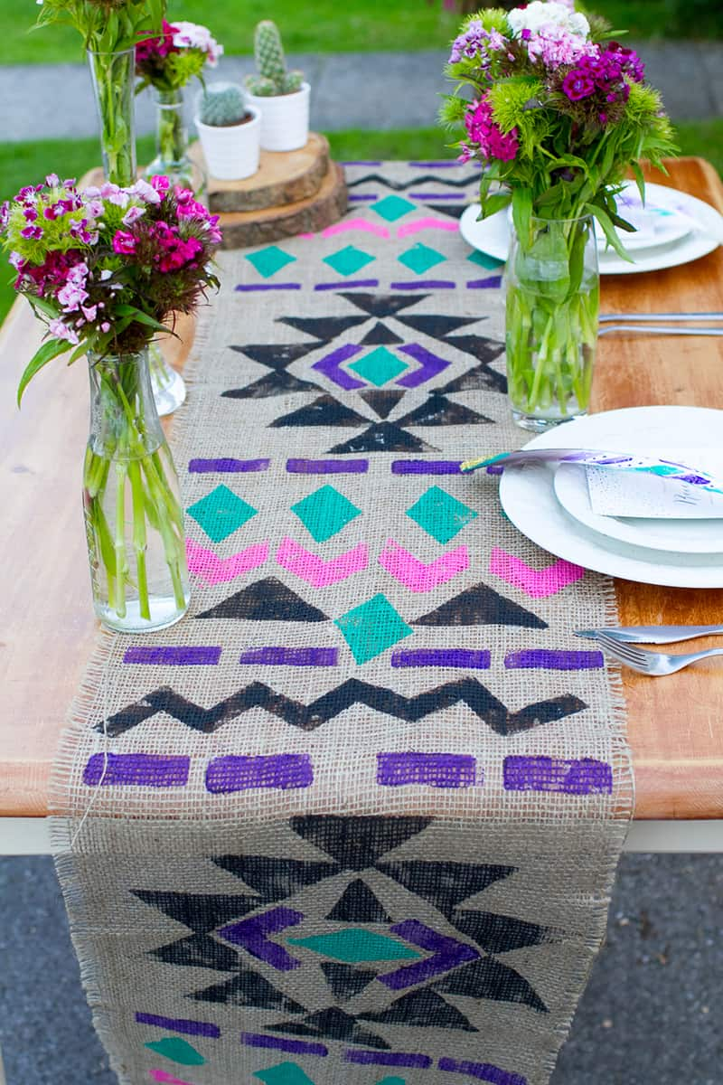 diy aztec table runner