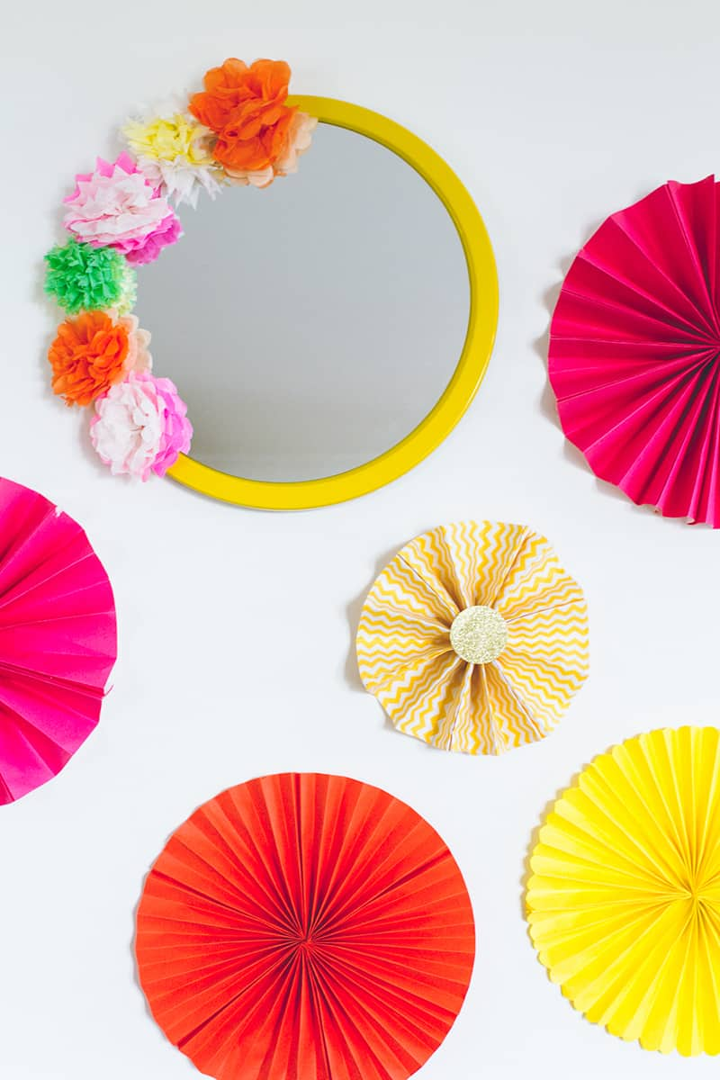 Diy crepe paper flower mirror decor diy mexican fiesta mirror with diy mexican fiesta mirror with paper flowers mightylinksfo