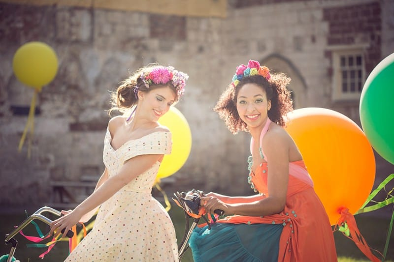 Bridesmaids on Tandem bike for The Online Wedding Show