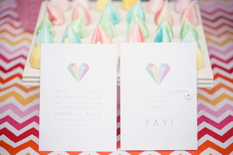 Rainbow coloured meringues & bold geometric stationery for The Online Wedding Show Launch 2015