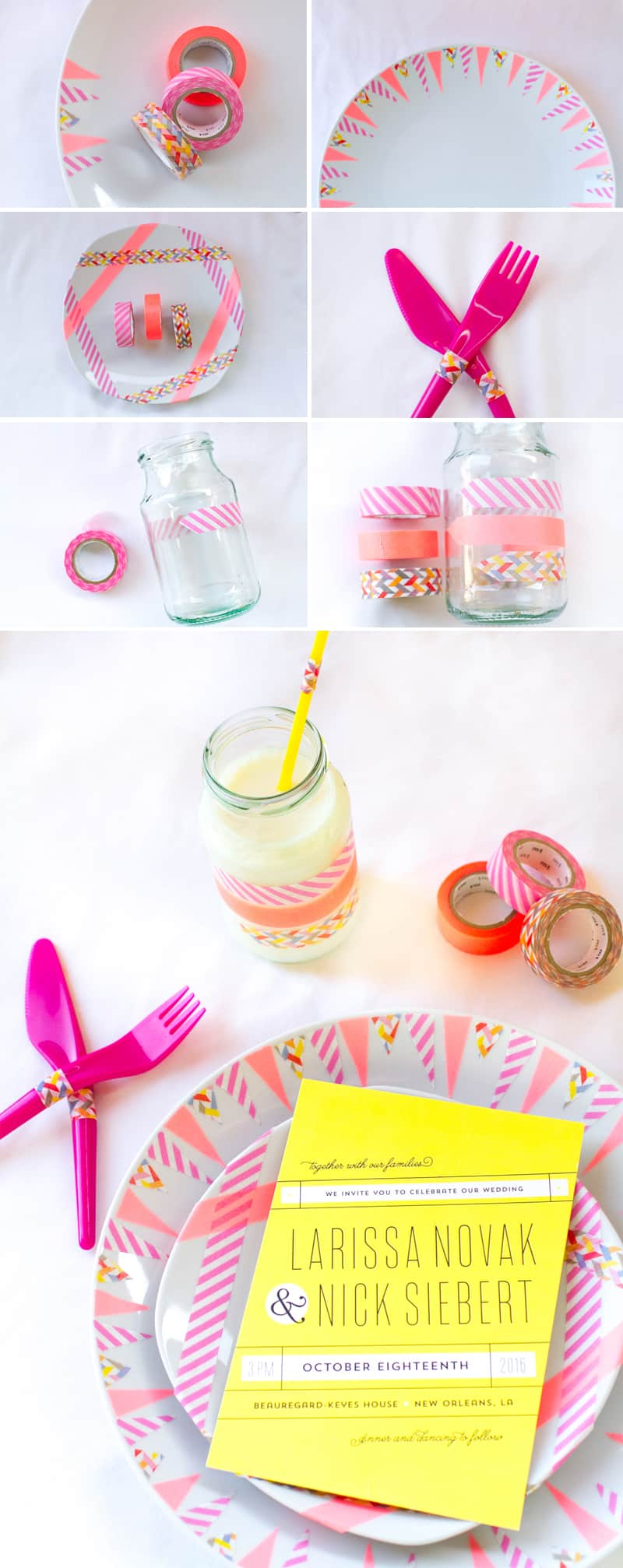 Washi Tape Place Setting DIY Collage