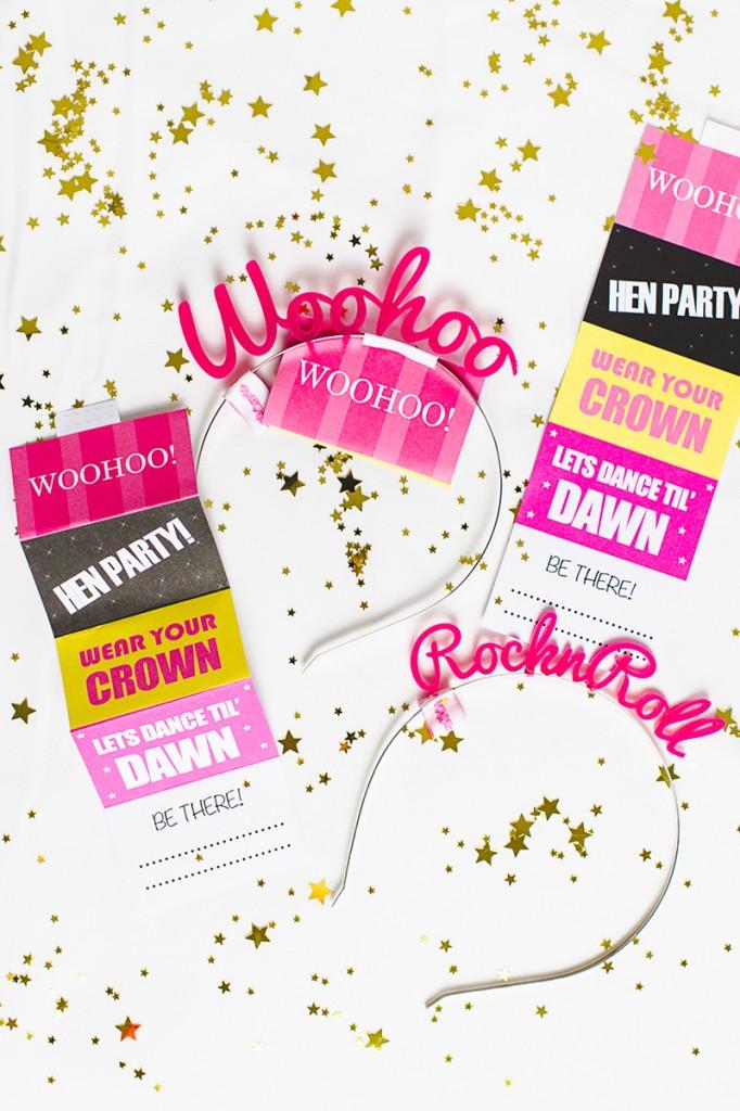 Free Printable Hen Party Invites Invitations Crown & Glory Head Band Fun Woohoo