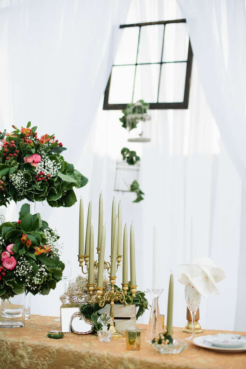 Charming Gold, Pink & Maroon wedding ideas with unique window backdrop