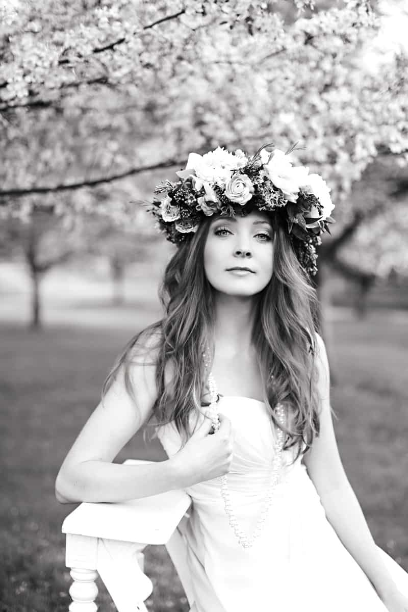 Spring Spring Wedding Inspiration Floral Crown Orchard Purple Lilac 20BW