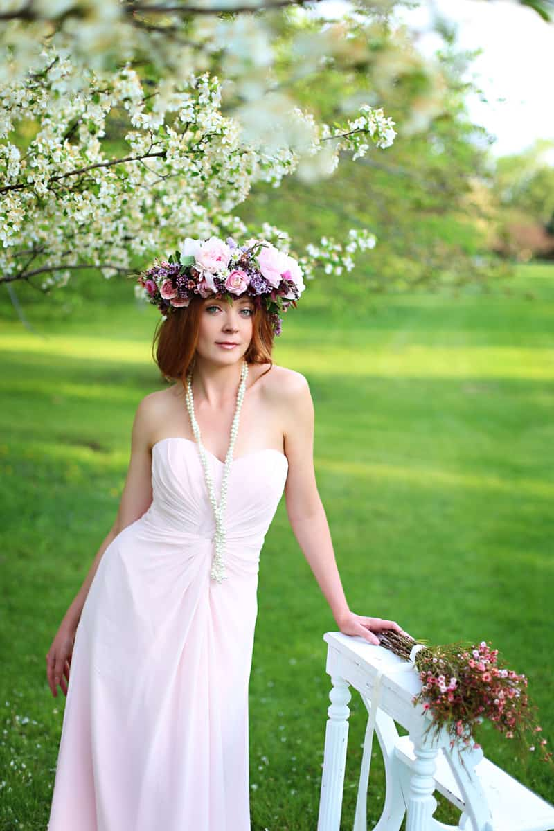 Spring Spring Wedding Inspiration Floral Crown Orchard Purple Lilac 25