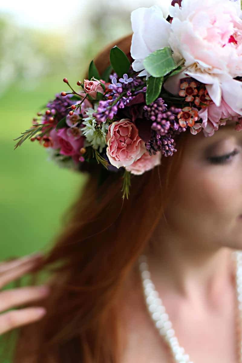 Spring Spring Wedding Inspiration Floral Crown Orchard Purple Lilac 27