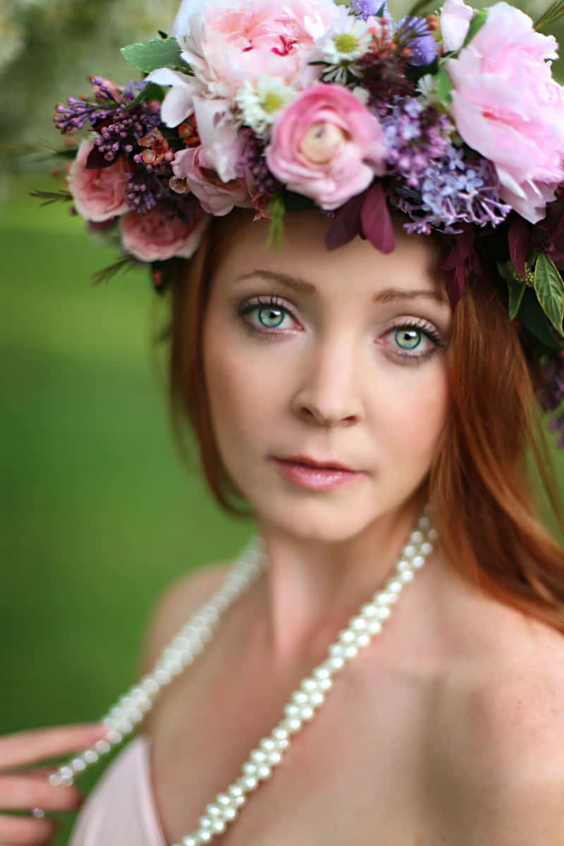 Spring Spring Wedding Inspiration Floral Crown Orchard Purple Lilac 31