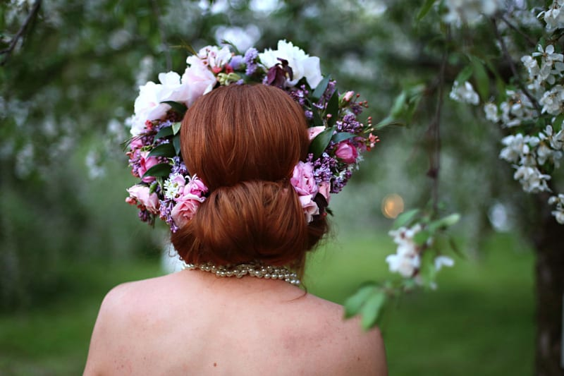 Spring Spring Wedding Inspiration Floral Crown Orchard Purple Lilac 57