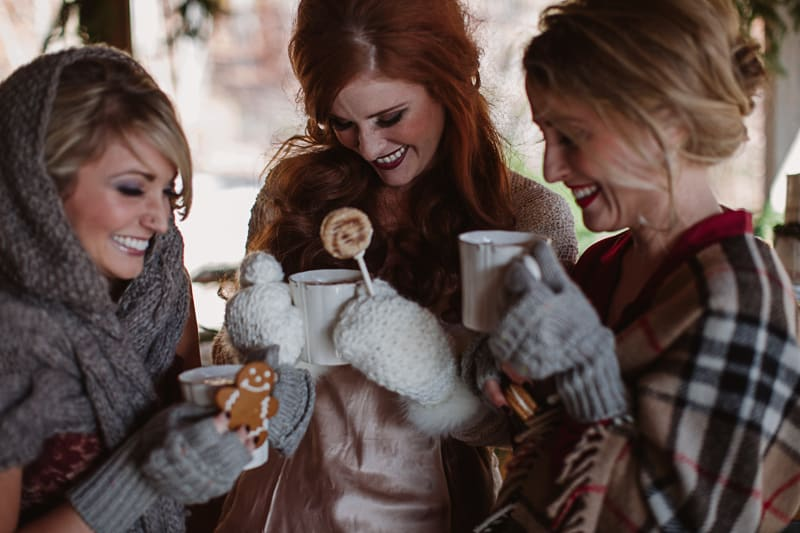 A Festive Intimate Bridal Brunch In A Christmassy Cabin