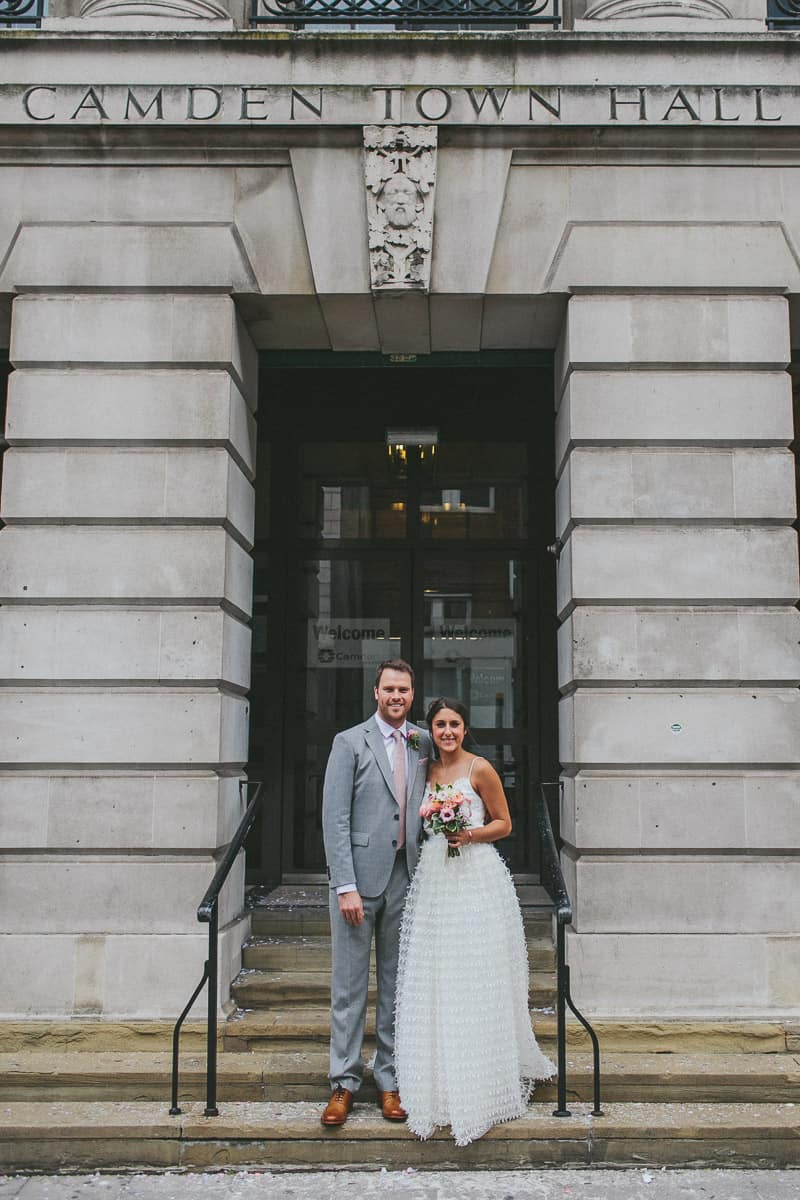Glamorous two piece wedding gown for a relaxed rooftop wedding in Camden (14)