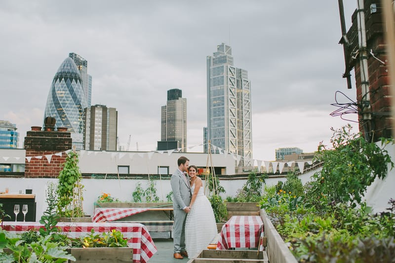 Glamorous two piece wedding gown for a relaxed rooftop wedding in Camden (31)