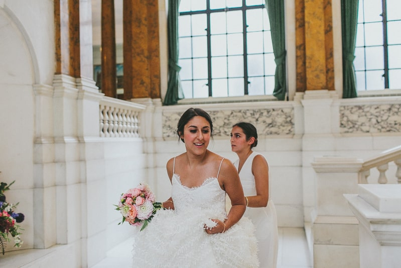 Glamorous two piece wedding gown for a relaxed rooftop wedding in Camden (6)