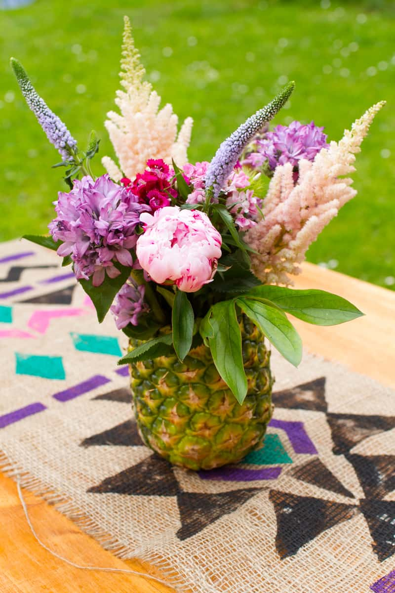 how to make a pineapple vase and flower arrangement centre