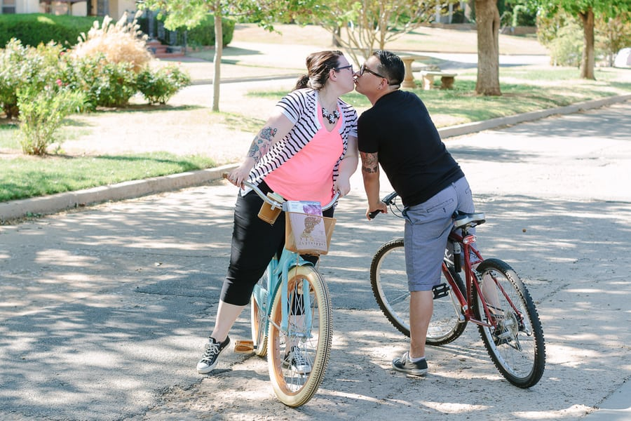 Quirky Engagement Shoot Librarian Fun Dogs Bike Ride 40
