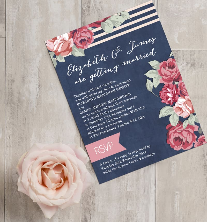 Bright Botanical Navy Rose Pink Red Floral wedding invites invitations stationery by Hip Hip Hooray