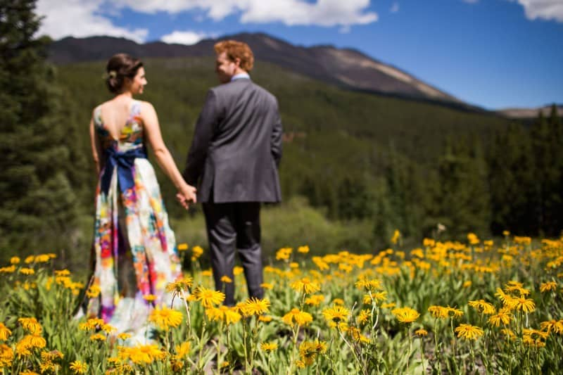 colourful floral gown wedding rockies kristin bobby