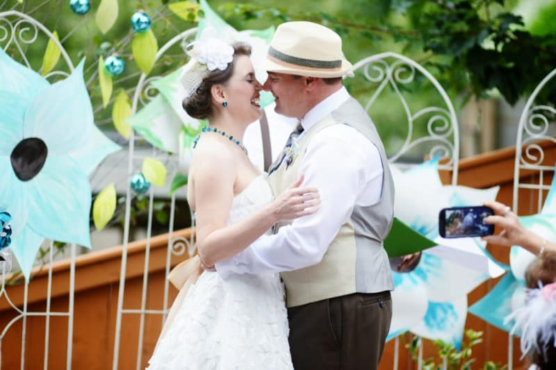 A Colourful Fun Vintage Italian Backyard Carnival Wedding (6)