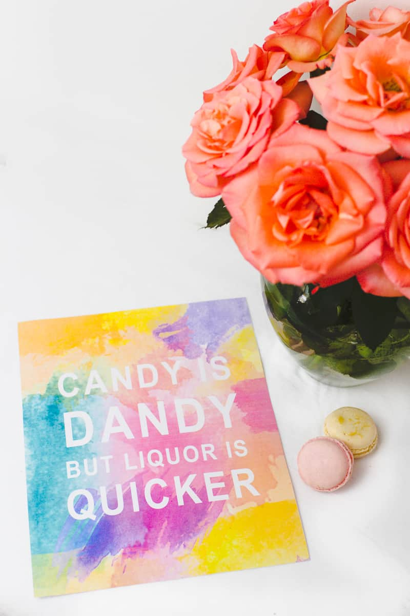 Drinks Table Quote Printable Candy Is Dandy Liquor Is Quicker Watercolour Wedding Theme-2
