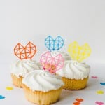 GEOMETRIC HEART CAKE TOPPERS