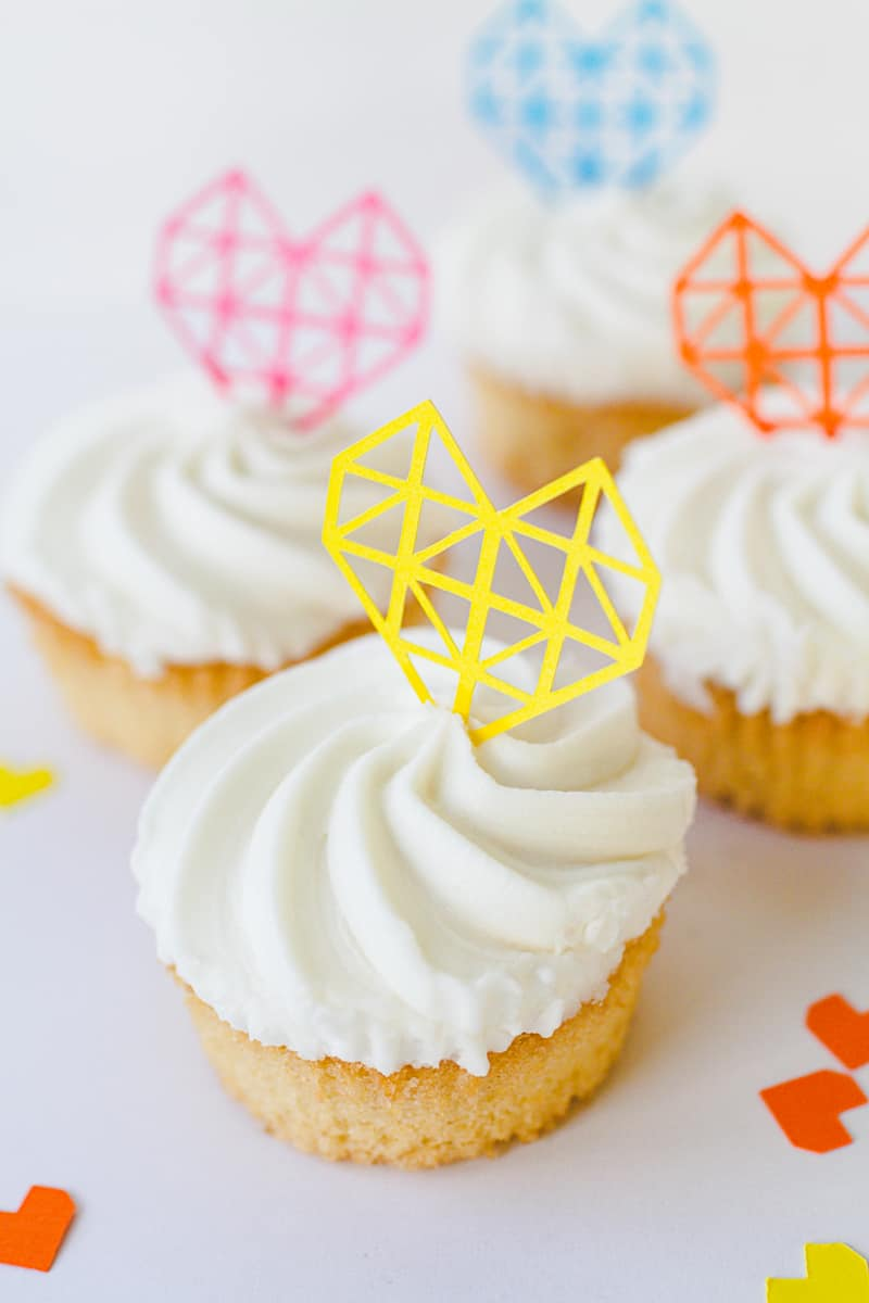 Geometric Heart Cake Toppers DIY Fun Colourful Cricut Cupcakes Valentines-4