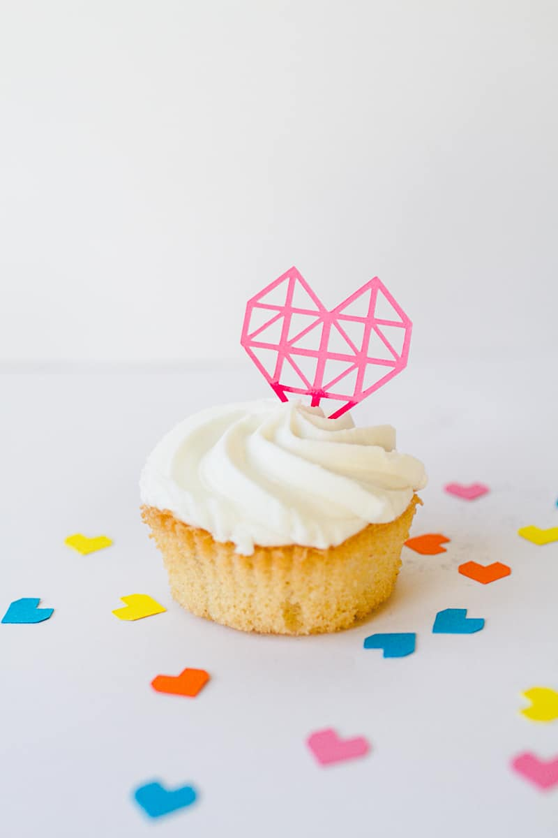 Geometric Heart Cake Toppers DIY Fun Colourful Cricut Cupcakes Valentines-5