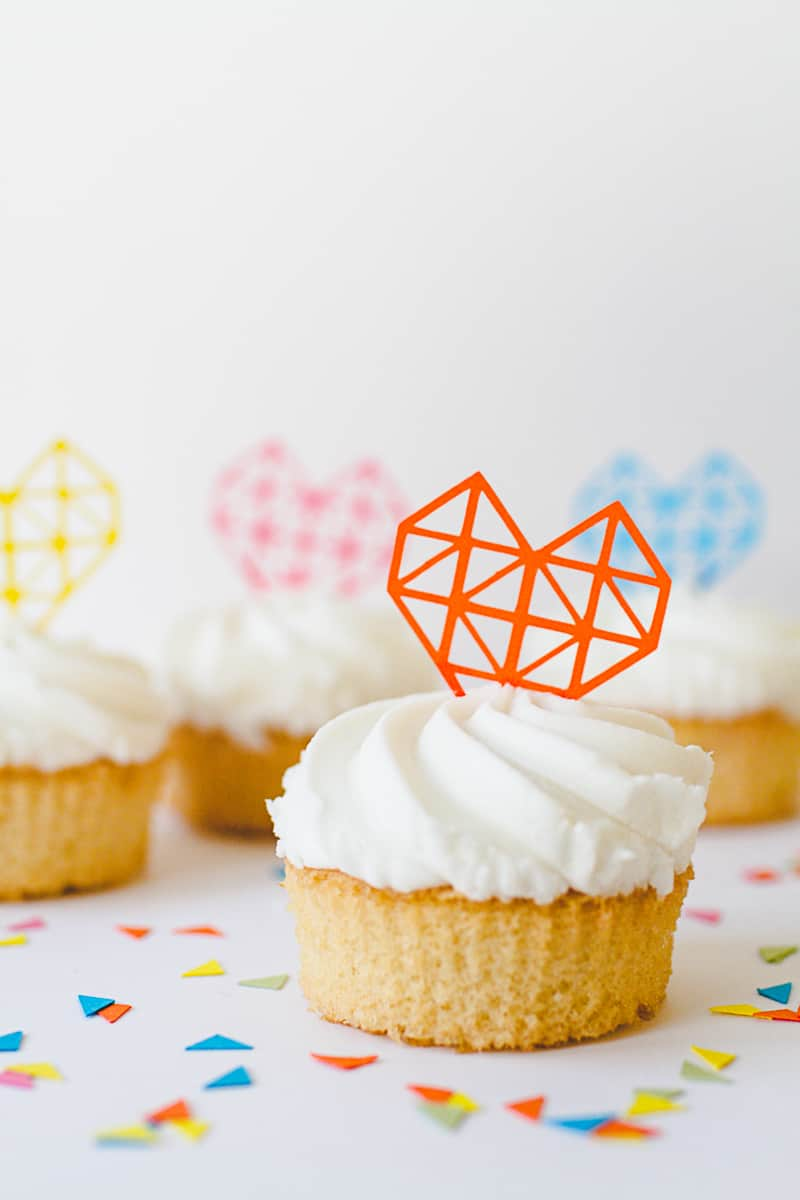 Geometric Heart Cake Toppers DIY Fun Colourful Cricut Cupcakes Valentines-8