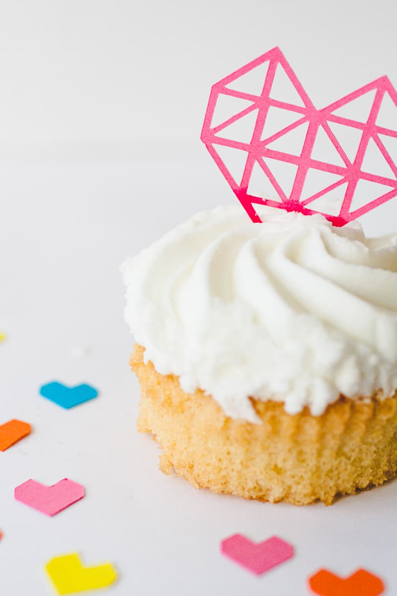 Geometric Heart Cake Toppers DIY Fun Colourful Cricut Cupcakes Valentines-9