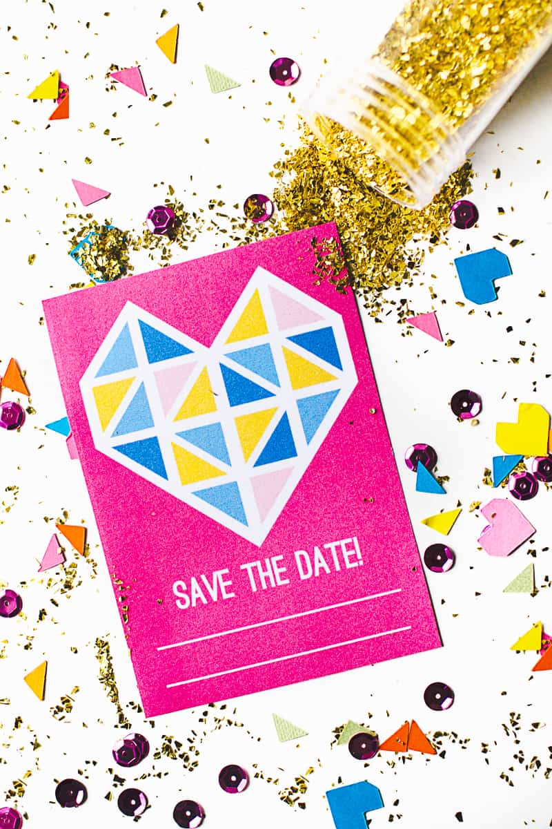 Geometric Heart Save the date Free Printable Stationery Card Main
