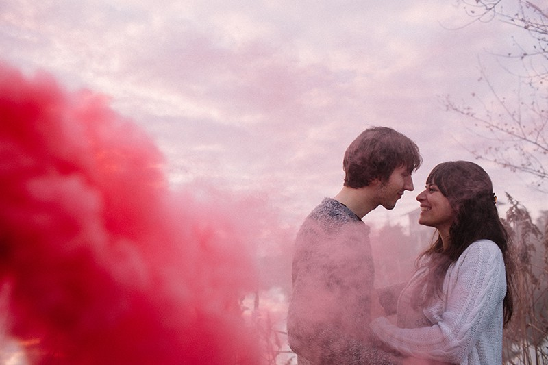 Smoke Bomb Themed Engagement Shoot 16